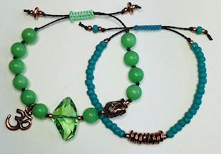 Beachy Bracelets** by Corey Milliren ©2019 Class Taught Exclusively at Bead Jungle in Henderson Nevada, Cord, Swarovski Crystal, Beads, Copper Beads, Copper Spacers, Seed Beads