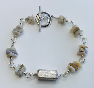 Sands of Time Bracelet* by Corey Milliren ©2019 Class Taught Exclusively at Bead Jungle in Henderson Nevada, Wire Wrapping, Opal Chip Beads, Silver Findings, Silver Wire, Silver Beads
