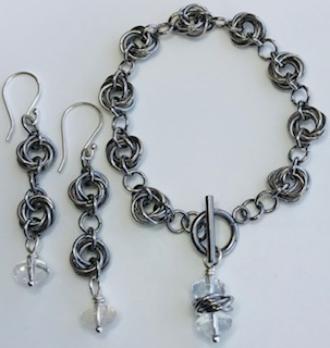 Budding Bracelet Set* by Corey Milliren ©2019 Class Taught Exclusively at Bead Jungle in Henderson Nevada, Wire Working, Wire Wrapping, Chain Mail,Gemstones, Steel Findings