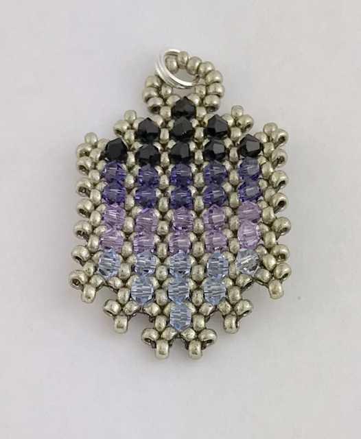 Pagoda Pendant, beaded pendant, Bead Jungle, beading class, hubble stitch, Swarovski crystals