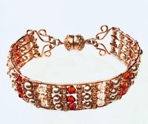 Autumn Bracelet Necklace by Corey Milliren ©2019, Wire Work, Seed Beads, Swarovski Crystal, Copper wire, Copper Findings