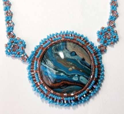 Aztec Princess Pendant by Valerie Catallozzi©2021, Bead Weaving Class, Bead Embroidery, Cabochon, Pendant