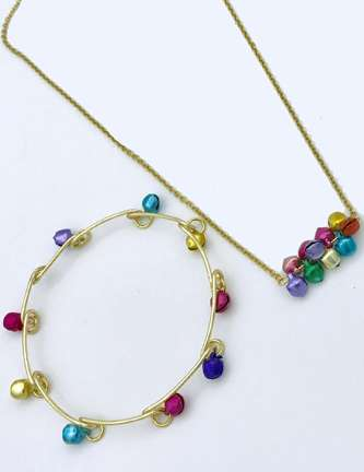 Bell Bar Necklace & Bangle by Corey Milliren ©2020 Gold Wire, Gold Findings, Wire work, Wire Wrapping