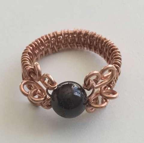 Cardinal Ring by Corey Milliren ©2019, Gemstone Bead,Copper Wire class
