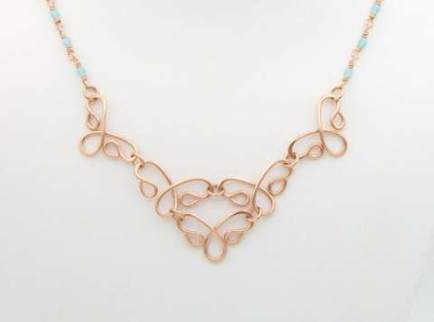 Festival Necklace BS2 by Corey Milliren ©2020 Copper Wire, Wire work, Wire Wrapping, Czech Beads, Copper Chain