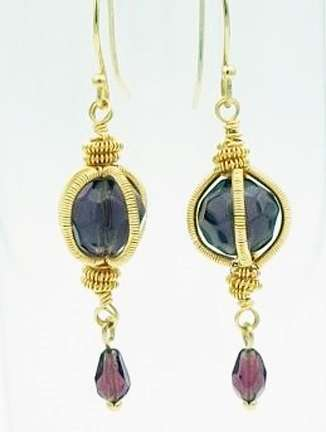 Genie In a Bottle Earrings by Corey Milliren ©2021 Gold Wire, Czech Glass Beads, Wire work, Wire Wrapping, Coiling