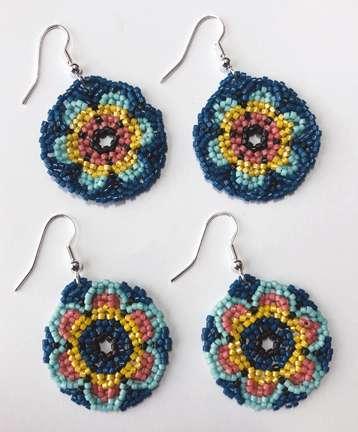 Huichol Flower Power by Valerie Catallozzi©2020, Circular Netting, Huichol, Earrings, Bead weaving Class