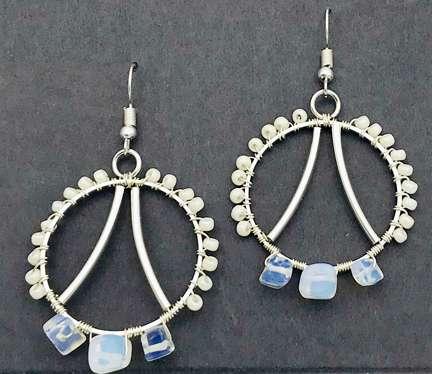 Opalescence Earring Kit by Corey Milliren ©2020 Silver Wire, Opalite Beads, Seed Beads Silver Findings, Wire Work, Wire Wrapping, Wire Weaving