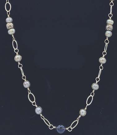 Opulence Necklace by Corey Milliren ©2018 Class Taught Exclusively at Bead Jungle in Henderson Nevada, Wire work, Finding, Links, Beads, Gemstone Beads, Freshwater Pearls, Gold wire, Chain