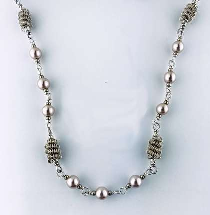 Pearls and Coils Necklace by Corey Milliren ©2020 Silver Wire, Swarovski Pearls, Silver Findings, Wire work, Wire Wrapping
