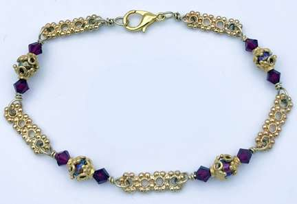 Rosy Outlook Bracelet by Corey Milliren ©2020 Gold Wire, Seed Beads, Gold Findings, Wire Work, Wire Wrapping