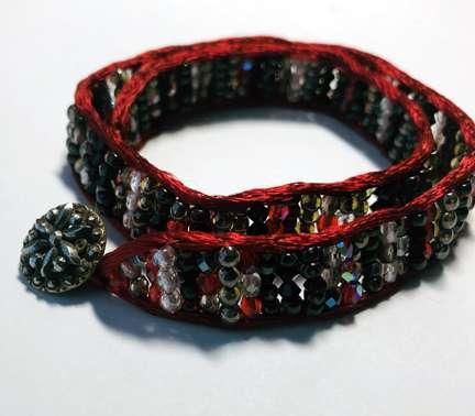 Satin Wrap by Valerie Catallozzi©2020, Satin Wrap, Wrap Bracelet, Holiday Gift, Leather Wrap, Beadweaving Class