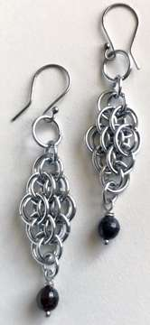 Small Scale Earrings by Corey Milliren ©2020 Gemstone Bead, Aluminum Jump Rings, Copper Wire, Antique Silver Findings, chain mail, chain maille