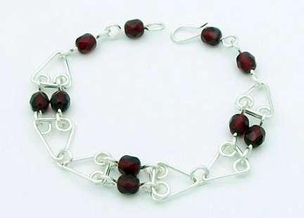 Trinity Bracelet by Corey Milliren ©2020 Silver Wire, Czech Glass Beads, Wire work, Wire Wrapping
