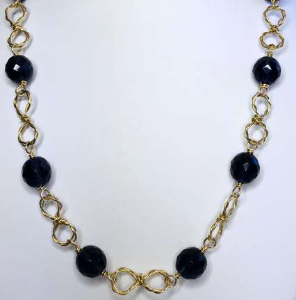 Infinitely Twisted Necklace by Corey Milliren, an Original design by Corey Milliren, All Rights Reserved, Wire Work, Twisted Wire, Gold Wire, Czech Beads