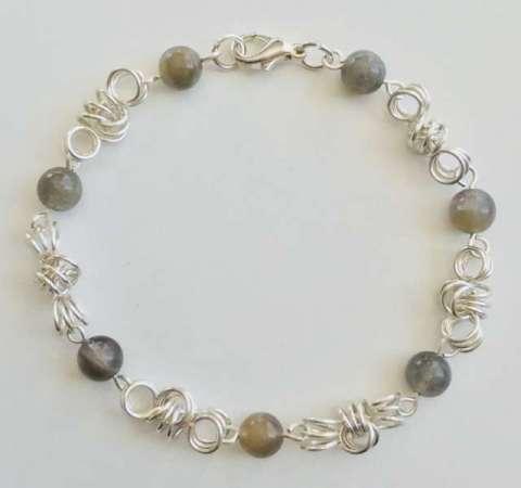 Zenyth Bracelet by Corey Milliren ©2019, Gemstone Beads, Silver Plated Wire, Silver Findings