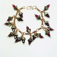 Garland Bracelet** by Corey Milliren ©2019, Wire Work, Seed Beads, Czech Glass Beads, Copper, Hand Made Findings